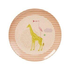 Rice Girls Norway Assort Tableware Pink Kids Bamboo Melamine Lunch Plate Animal Print