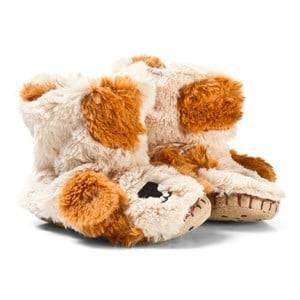 Hatley Unisex Slippers Brown Puppy Fuzzy Slouch Slippers