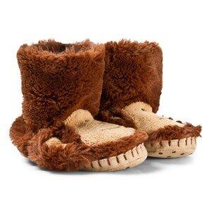 Hatley Unisex Slippers Brown Monkey Fuzzy Slouch Slippers