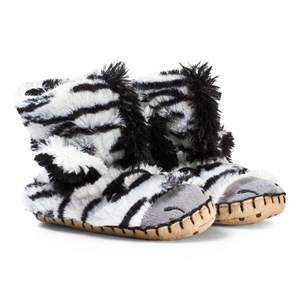 Hatley Unisex Slippers Multi Zebra Fuzzy Slouch Slippers