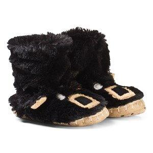 Hatley Unisex Slippers Black Black Bear Fuzzy Slouch Slippers