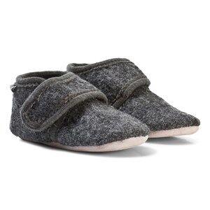 Celavi Unisex Slippers Grey Wool Baby Shoes Deep Stone Grey