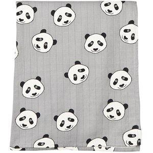 Image of Småfolk Unisex Textile Grey Grey Panda Print Swaddle Blanket