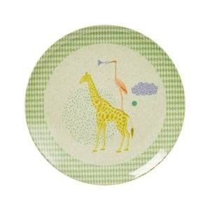Rice Boys Norway Assort Tableware Green Kids Bamboo and Melamine Lunch Plate with Animal Print