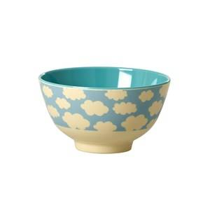 Rice Unisex Norway Assort Tableware Blue Small Melamine Bowl with Cloud Print