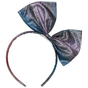 No Added Sugar Girls Hair accessories Pink Pink and Blue Lurex Stripe Bow Headband