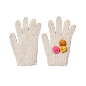 Il Gufo Girls Gloves and mittens Beige Beige and Multi Pom Pom Knit Gloves