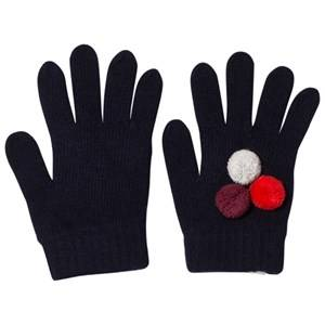 Il Gufo Girls Gloves and mittens Navy Navy and Multi Pom Pom Knit Gloves