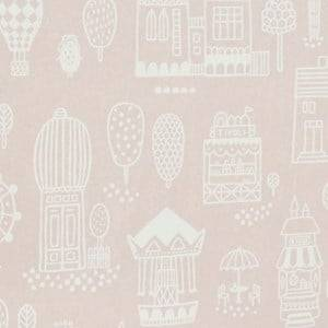 Majvillan Unisex Home accessories Pink Small Town Wallpaper Pink