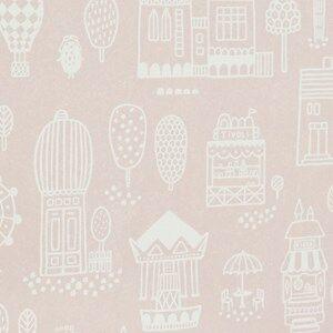 Majvillan Unisex Home accessories Pink Small Town Wallpaper Pink
