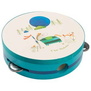 Moulin Roty Unisex Musical instruments and toys Cream Turquoise Painted Wooden Tamborines