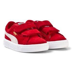 Puma Unisex Sport footwear Red Suede 2-Strap Kids Sneakers Red