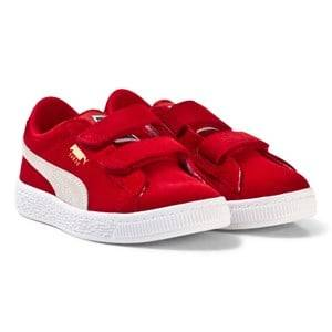 Puma Unisex Sport footwear Red Suede 2-Strap Youth Sneakers Red