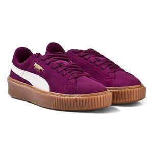 Puma Girls Sport footwear Purple Suede Platform Snake Junior Sneakers Puple