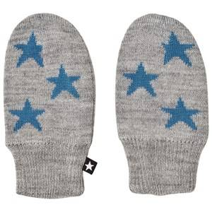Image of Molo Snowflake Mittens Grey Wool gloves and mittens