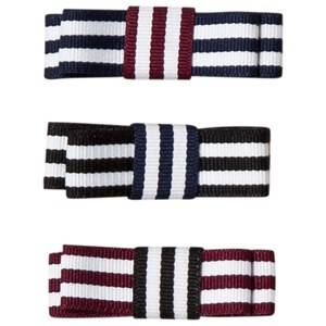 Image of Molo 3-Pack Grosgrain Bow Hair Clips Mixed Stripes