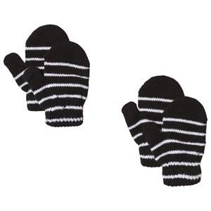 Image of Lindberg 2-Pack Magic Stripe Wool Mittens Black Wool gloves and mittens