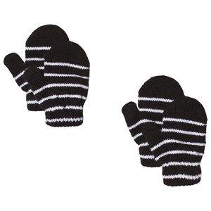 Image of Lindberg 2-Pack Magic Stripe Wool Mittens Black Wool gloves and mittens