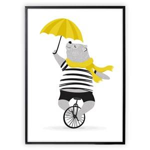 XO Posters Poster Mr Bear on Unicycle With Umbrella Posters