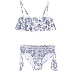 Seafolly White Floral Pop Palace Ruffle Bandeau Bikini 6 years