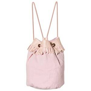 Easy Peasy Pink Frill Drawstring Leather and Canvas Bucket Bag Backpacks
