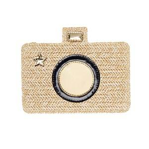 Mimi & Lula Camera Braided Cross-Body Bag Beige Handbags