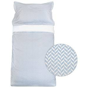 Vinter & Bloom Unisex Bedding Blue Herringbone Baby Cot Bedding Alaskan Blue