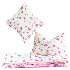 Noe & Zoe Berlin Girls Bedding White Junior Bedding Neon Pink Stars & Stripes