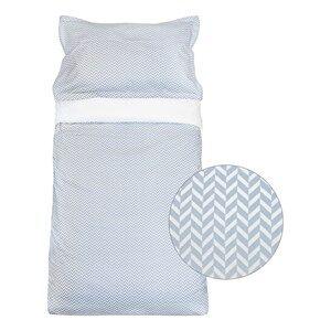 Vinter & Bloom Unisex Bedding Blue Herringbone Bassinet Bed Set Alaska Blue