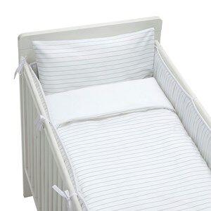 rattstart Unisex Bedding Grey Bed Set Crib Bed Pinstripe
