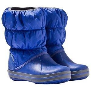 Crocs Unisex Childrens Shoes Boots Blue Winter Puff Boot Kids Cerulean Blue/Light Grey