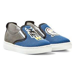 Fendi Boys Sneakers Blue Blue Monster Mesh Slip Ons