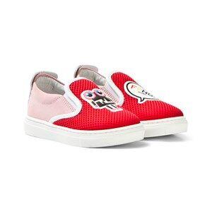 Fendi Girls Sneakers Red Red Mesh Monster Slip Ons