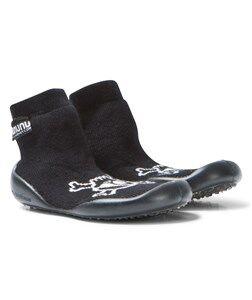 NUNUNU Unisex Shoes Black Skull Collegien Slippers Black