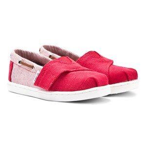 Toms Unisex Shoes Red Red Burlap & Stripe Tiny TOMS Biminis