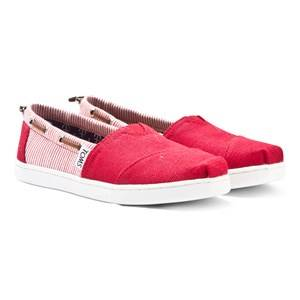 Toms Unisex Shoes Red Red Burlap & Stripe Youth Biminis