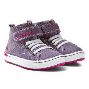 Viking Girls Sneakers Purple Frogner Kids MID Grey/Magenta