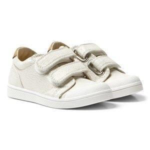 10-IS Girls Sneakers White White Gold Shine TEN V 2 Velcro Shoes