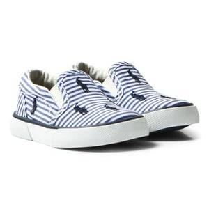 Ralph Lauren Boys Shoes Blue Blue Stripe Poplin Bal Harbour Slip Ons