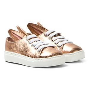 Image of Minna Parikka Girls Sneakers Pink Rose Gold Metallic Leather Bunny Trainers