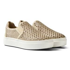 Stuart Weitzman Girls Sneakers Gold Double Marcia Gold Slip On Trainers