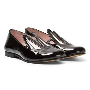 Image of Minna Parikka Girls Shoes Black Black Patent Leather Bunny Ears Loafers