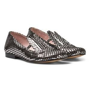 Image of Minna Parikka Girls Shoes Black Black and Silver Star Leather Bunny Ears Loafers