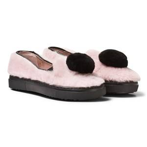 Image of Minna Parikka Girls Sneakers Pink Pale Pink and Black Pom Pom Shearling Slip Ons