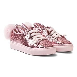 Image of Minna Parikka Girls Sneakers Pink Rose Glitter Shearling Tail Sneaks Mini Trainers