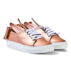 Image of Minna Parikka Girls Sneakers Pink Exclusive Rose Gold Nappa Leather T Bow Mini Trainers