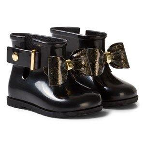 Mini Melissa Girls Boots Black Sugar Rain Bow Rain Boots Black and Gold Glitter Bow