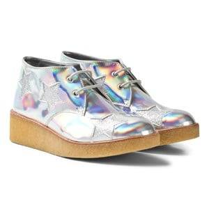 Stella McCartney Kids Girls Boots Silver Wendy Holographic Glitter Stars Wedge Boots