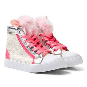 Image of Billieblush Girls Sneakers Pink Pink Glitter Pom Pom High Top Trainer