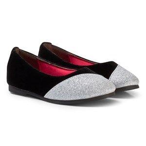 Billieblush Girls Shoes Black Glitter Ballerina Pumps Black/Silver
